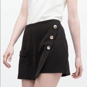 Zara Black Buttoned Skort